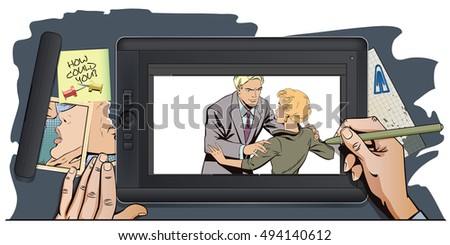 Stock illustration. People in retro style pop art and vintage advertising. Broken heart. Girl and boy talking. Hand paints picture on tablet.