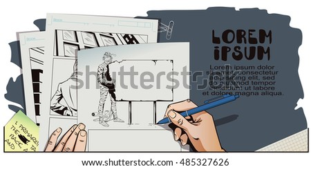 Stock illustration. People in retro style pop art and vintage advertising. Man wrapped in toilet paper. Funny mummy. Happy Halloween. Hand paints picture.