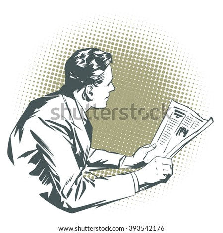 Stock illustration. People in retro style pop art and vintage advertising. Men with the newspaper. Speech bubble.