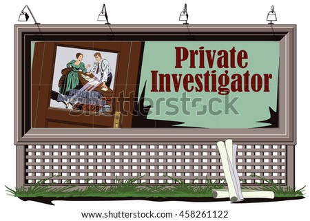 Stock illustration. People in retro style pop art and vintage advertising. Private detective and girl. Poster for your brand.