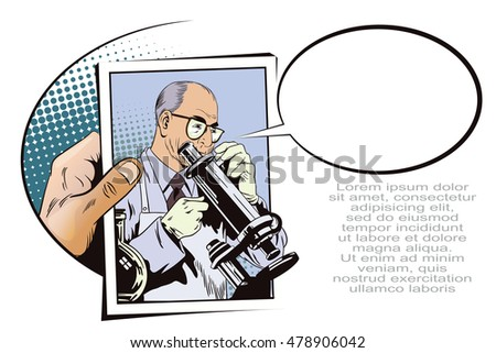 Stock illustration. People in retro style pop art and vintage advertising. Scientist with microscope. Hand with photo.