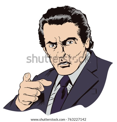 Stock illustration. People in retro style pop art and vintage advertising. Strict businessman points with his finger.