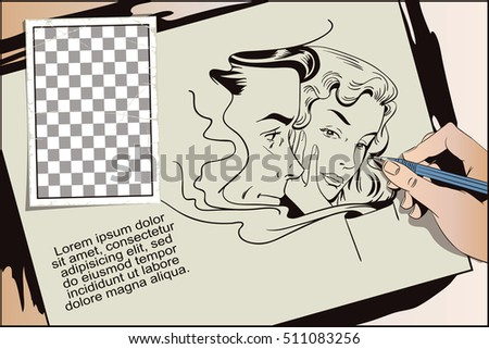 Stock illustration. People in retro style. Presentation template. Advertising coffee. Girl and guy drinks hot coffee. Hand paints picture.