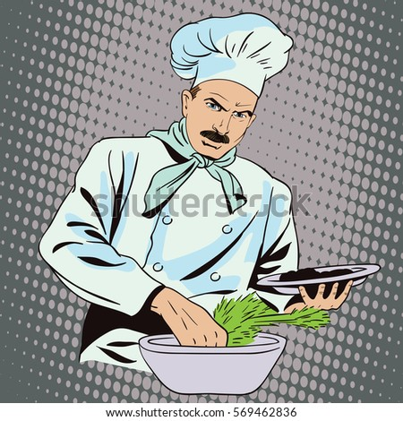 Stock illustration. People in retro style. Presentation template. The cook prepares food.