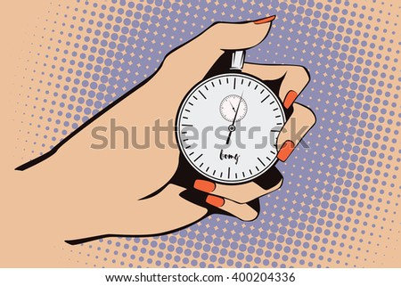 Stock illustration. Style of pop art and old comics. Stopwatch in hand - stock vector