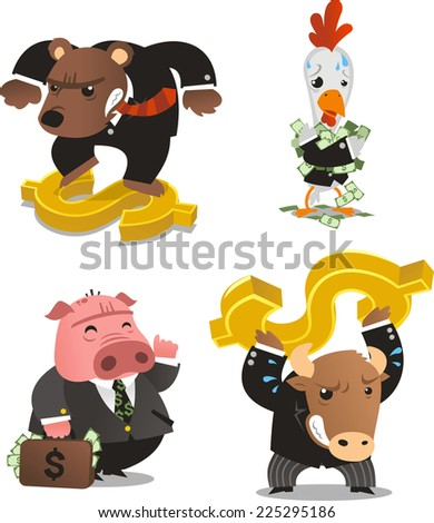 Stock market animals with money symbol and notes vector illustration. - stock vector