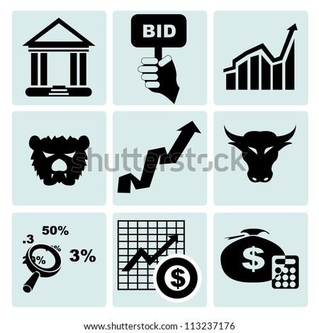 stock market icon set - stock vector