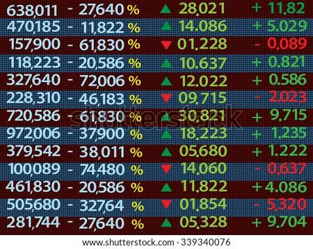 stock market price display - stock vector