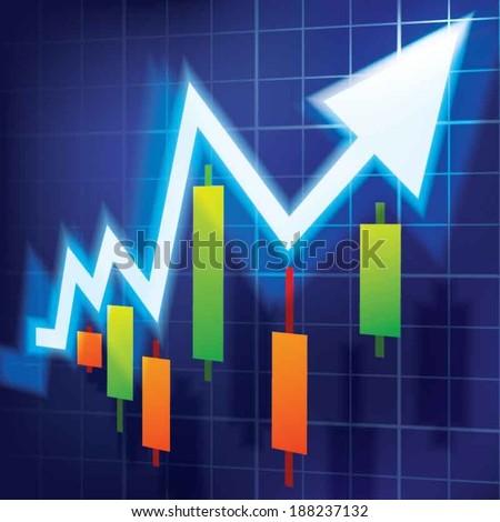 Stock market, up trend - stock vector