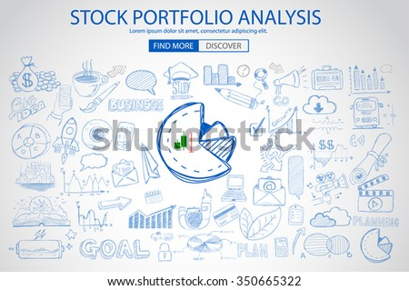 Stock Portfolio Analysis Concept with Doodle design style :following trends, money management, investment diversification. Modern style illustration for web banners, brochure and flyers. - stock vector
