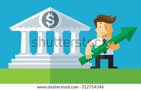 stock quotes. Businessman hold green arrow in front bank building.flat vector business illustration. - stock vector