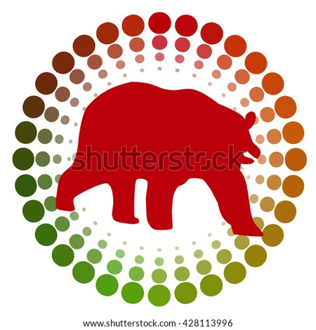 stock red bear icon logo with cycle color green to red design for investment market.vector illustration. - stock vector