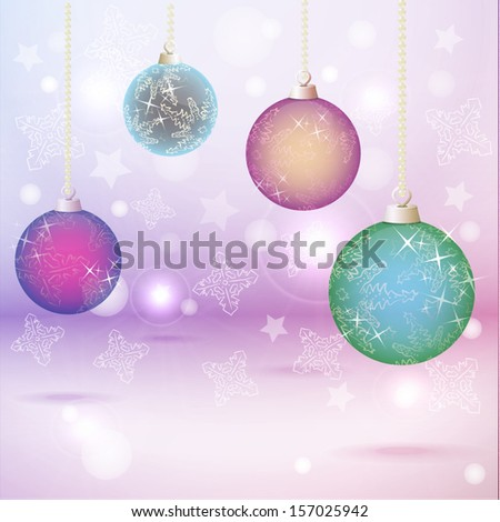Stock vector banner with christmas balls and snowflakes ornament