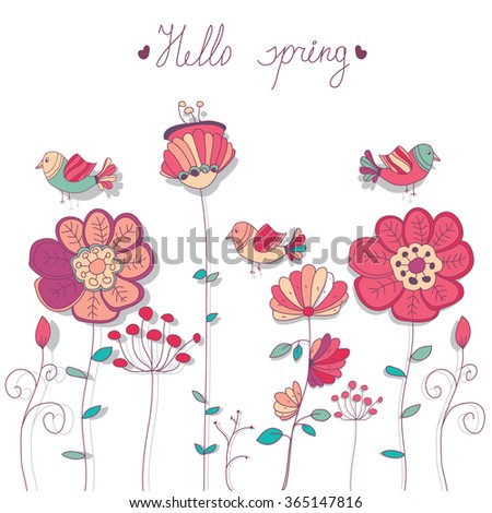 stock vector bright background with floral and bird decals Hello spring - stock vector