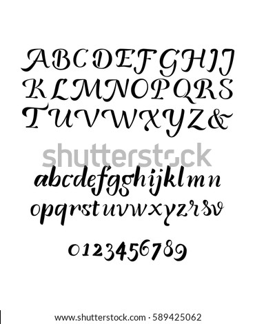 Stock Vector Calligraphy Brush Pen Isolated Alphabet Uppercase And Lowercase Letters Numbers Lettering By
