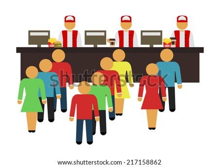 Stock vector cartoon flat fast food design icon set - stock vector