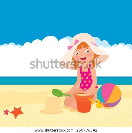 Stock Vector cartoon illustration of a girl playing on the beach/Girl playing on the beach/Stock Vector cartoon illustration - stock vector