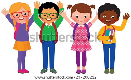 Stock Vector cartoon illustration of a group of children students/Group of children students/Stock Vector cartoon illustration - stock vector