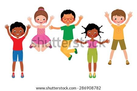 Stock Vector cartoon illustration of a group of happy children jumping isolated on white background/Group of happy jumping children isolated on white background/Stock Vector cartoon illustration