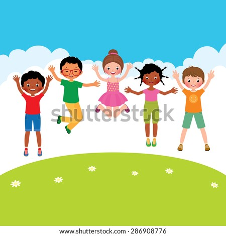 Stock Vector cartoon illustration of a group of happy jumping children of different nationalities/Group of happy jumping children of different nationalities/Stock Vector cartoon illustration - stock vector