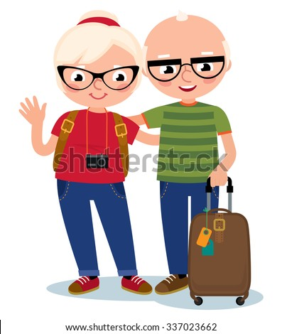 Stock Vector cartoon illustration of an elderly couple traveling with baggage and camera/Mature couple travelers isolated on white background/Stock Vector cartoon illustration - stock vector
