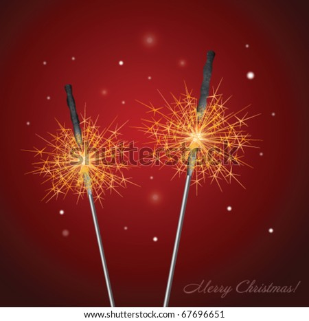 Stock vector christmas sparklers - stock vector