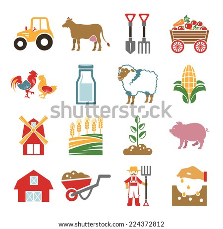 Stock vector color pictogram farm icon set - stock vector
