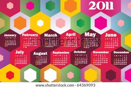 Stock vector colorful calendar 2011 - stock vector