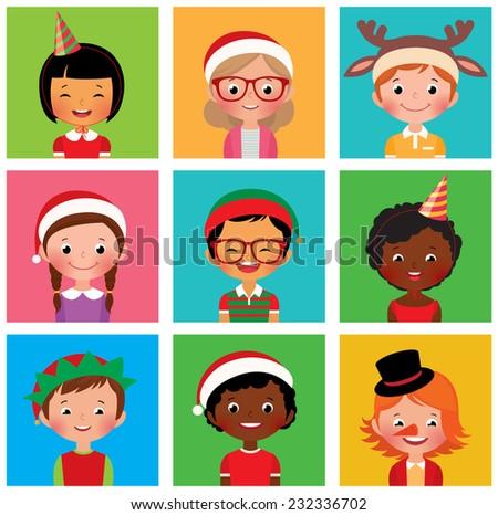 Stock vector illustration avatars children in holiday Christmas hats/Stock vector illustration  - stock vector