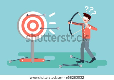 Stock vector illustration businessman hits target unsuccessful shot from bow regression wrong solution business failure marketing unachievable unlucky idea non-progress loss start-up in flat style