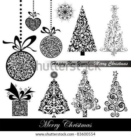 Stock Vector Illustration: Christmas decoration set - lots of calligraphic elements, bits and pieces to embellish your holiday layouts - stock vector