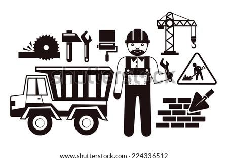 Stock vector illustration construction black pictogram icon set - stock vector