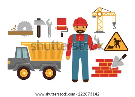 Stock vector illustration construction color flat icon set - stock vector