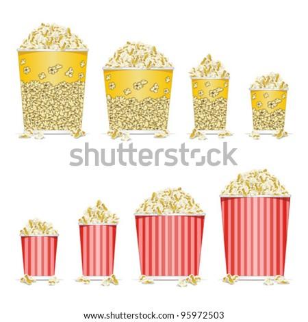 Stock Vector Illustration:   illustration of bucket full of popcorn on white background - stock vector