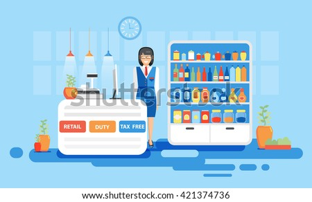 Stock vector illustration interior airport, duty free at airport, tax free at airport, retail at airport for flights, business travel in flat style element info graphic, website, games, motion design - stock vector