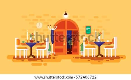 Stock Vector Illustration Interior Entrance Door Cafe Restaurant Lounge Dining Table Lunch Room Snack Bar