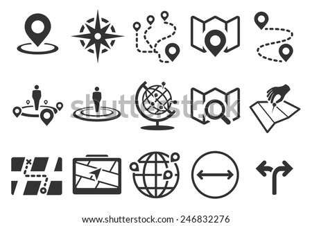 Stock Vector Illustration: Map icons - stock vector