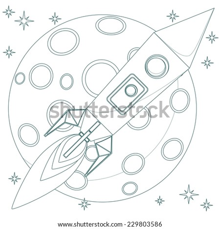 Stock Vector Illustration of a Cartoon space Rocket in the starry sky with moon - stock vector