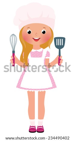 Stock vector illustration of a little girl in a suit chef holding kitchen utensils - stock vector
