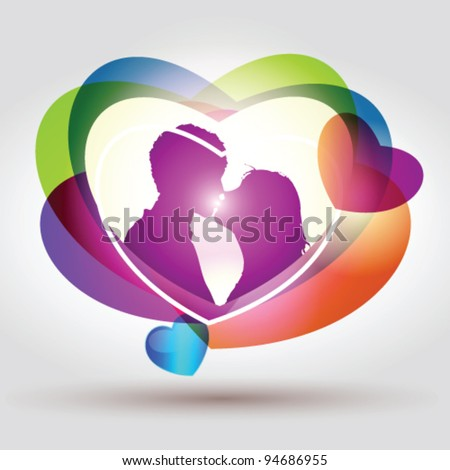 Stock vector illustration of kiss - stock vector