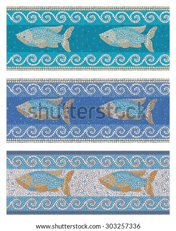 Stock vector illustration of seamless mosaic background in ancient style on the marine theme/Seamless mosaic in marine style/Stock vector illustration - stock vector