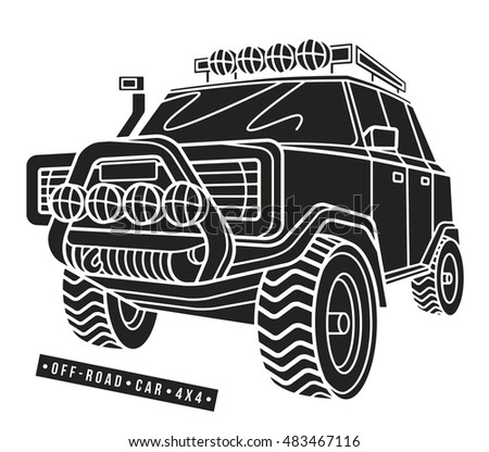 Stock vector illustration off-road car. Isolated on white  background