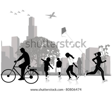 Stock Vector Illustration: Park