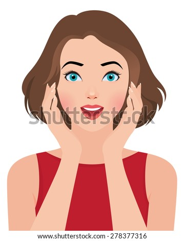 Stock vector illustration portrait of a beautiful surprised girl/Portrait of a beautiful surprised girl/Stock vector illustration - stock vector