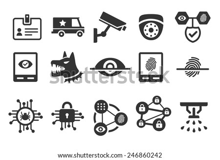 Stock Vector Illustration: Security icons set 1 - stock vector