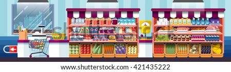 Stock vector illustration the interior of supermarket, cashier at supermarket, supermarket showcase, grocery supermarket, deli in flat style element info graphic, website, games, motion design, video - stock vector