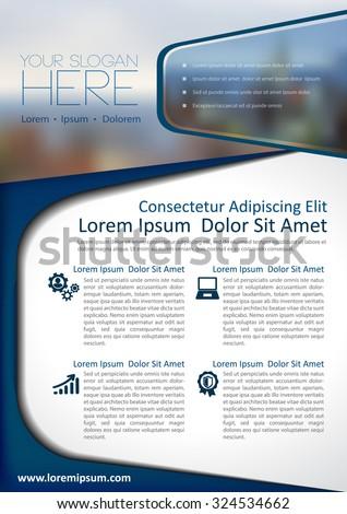 Stock Vector Illustration: Vector brochure, flyer, magazine cover & poster template. - stock vector