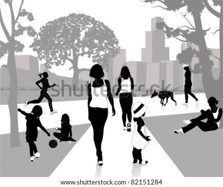 Stock Vector Illustration: Walk in the park - stock vector