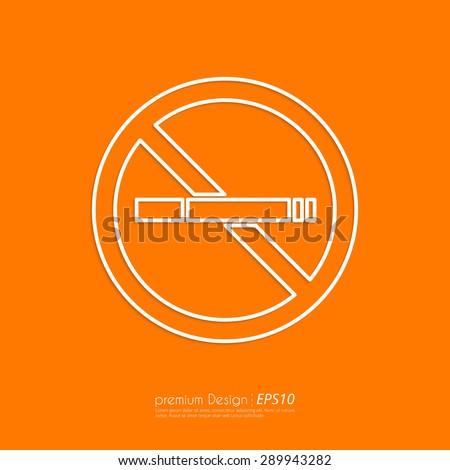 Stock Vector Linear icon no smoking. Flat design. - stock vector