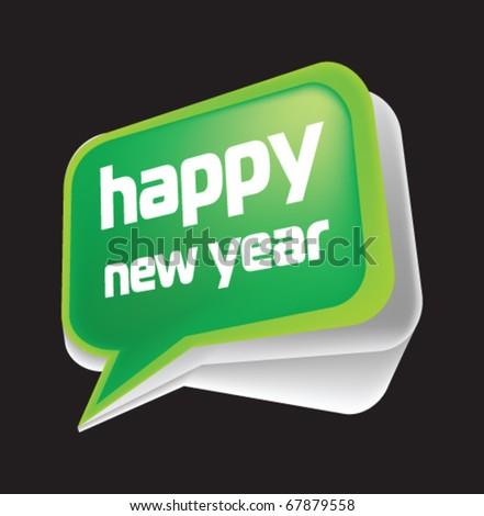 Stock vector  new year speech bubble - stock vector